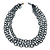 3 Strand Hematite Coloured Glass Bead Oval Link Necklace - 60cm Length - view 3