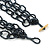 3 Strand Hematite Coloured Glass Bead Oval Link Necklace - 60cm Length - view 6