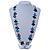 Black, Light Blue, White Bone Bead Necklace - 80cm L - view 3