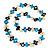 Black, Light Blue, White Bone Bead Necklace - 80cm L - view 2