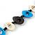 Black, Light Blue, White Bone Bead Necklace - 80cm L - view 5