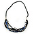 Black Glass Bead, Cobalt Blue Shell Nugget With Black Leather Style Cord Necklace - 60cm L - view 7