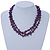 3 Strand Violet Shell Nugget, Lavender Glass Bead Necklace In Silver Tone - 42cm L/ 5cm Ext - view 2