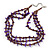 3 Strand Violet Shell Nugget, Lavender Glass Bead Necklace In Silver Tone - 42cm L/ 5cm Ext - view 4