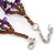 3 Strand Violet Shell Nugget, Lavender Glass Bead Necklace In Silver Tone - 42cm L/ 5cm Ext - view 7