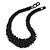 Chunky Black Glass Bead Necklace - 38cm L