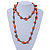 Orange Wood Bead Cotton Cord Long Necklace - 110cm L