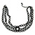 3 Strand Black Beaded Flex Choker Adult - 30cm Length/ 6cm Extension