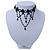 Chic Victorian/ Gothic/ Burlesque Black Bead Choker Necklace - 31cm Length/ 8cm Extension - view 8