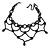 Fancy Dress Party Black Acrylic, Glass Bead Bib Choker Necklace - 28cm L/ 7cm Ext - view 2