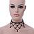 Fancy Dress Party Black Acrylic, Glass Bead Bib Choker Necklace - 28cm L/ 7cm Ext - view 8
