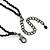 Fancy Dress Party Black Acrylic, Glass Bead Choker Necklace - 30cm L/ 7cm Ext - view 5