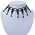 Fancy Dress Party Black Acrylic, Glass Bead Choker Necklace - 30cm L/ 7cm Ext