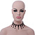 Fancy Dress Party Black Acrylic, Glass Bead Choker Necklace - 30cm L/ 7cm Ext - view 8
