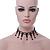 Fancy Dress Party Black Acrylic, Glass Bead Choker Necklace - 30cm L/ 7cm Ext - view 9