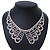 Clear Austrian Crystal Collar Necklace In Silver Tone - 30cm Length/ 15cm Extension