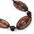 Tribal Brown Wood Bead Cotton Cord Necklace - 80cm L - view 3