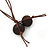 Tribal Brown Wood Bead Cotton Cord Necklace - 80cm L - view 5