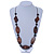 Tribal Brown Wood Bead Cotton Cord Necklace - 80cm L - view 2