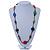 Long Multicoloured Wood, Plastic Bead Cotton Cord Necklace - 100cm L - view 2