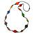 Long Multicoloured Wood, Plastic Bead Cotton Cord Necklace - 100cm L