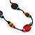 Long Multicoloured Wood, Plastic Bead Cotton Cord Necklace - 100cm L - view 3