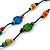 Long Multicoloured Wood, Plastic Bead Cotton Cord Necklace - 100cm L - view 5