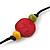 Long Multicoloured Wood, Plastic Bead Cotton Cord Necklace - 100cm L - view 6