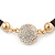 Black Rubber Necklace With Crystal Round Magnetic Closure - 38cm L - view 9