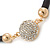 Black Rubber Necklace With Crystal Round Magnetic Closure - 38cm L - view 4