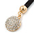 Black Rubber Necklace With Crystal Round Magnetic Closure - 38cm L - view 6