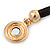 Black Rubber Necklace With Crystal Round Magnetic Closure - 38cm L - view 7