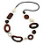 Brown Wood Oval Link, White Ceramic Bead, Black Faux Leather Cord Necklace - 80cm L