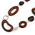 Brown Wood Oval Link, White Ceramic Bead, Black Faux Leather Cord Necklace - 80cm L - view 3