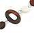 Brown Wood Oval Link, White Ceramic Bead, Black Faux Leather Cord Necklace - 80cm L - view 4