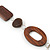 Brown Wood Oval Link, White Ceramic Bead, Black Faux Leather Cord Necklace - 80cm L - view 5