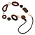 Brown Wood Oval Link, White Ceramic Bead, Black Faux Leather Cord Necklace - 80cm L - view 6