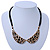 Gold Tone, Crystal Collar Necklace With Black Suede Cords - 40cm L/ 7cm Ext - view 2