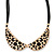 Gold Tone, Crystal Collar Necklace With Black Suede Cords - 40cm L/ 7cm Ext