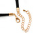 Gold Tone, Crystal Collar Necklace With Black Suede Cords - 40cm L/ 7cm Ext - view 7