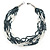 Hematite/ White Multistrand Glass Bead Necklace with Silver Tone Closure - 46cm L - view 6