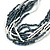 Hematite/ White Multistrand Glass Bead Necklace with Silver Tone Closure - 46cm L - view 5