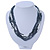 Hematite/ White Multistrand Glass Bead Necklace with Silver Tone Closure - 46cm L - view 2