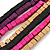 Multi-Strand Lime Purple/ Black/ Magenta/ Beige Wood Bead Adjustable Cord Necklace - 46cm to 58cm L - view 3