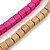Multi-Strand Lime Purple/ Black/ Magenta/ Beige Wood Bead Adjustable Cord Necklace - 46cm to 58cm L - view 4