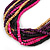 Multi-Strand Lime Purple/ Black/ Magenta/ Beige Wood Bead Adjustable Cord Necklace - 46cm to 58cm L - view 6