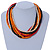 Multi-Strand Red/ Black/ Orange Wood Bead, Black Adjustable Cord Necklace - 46cm to 58cm L - view 2