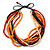 Multi-Strand Red/ Black/ Orange Wood Bead, Black Adjustable Cord Necklace - 46cm to 58cm L - view 4