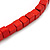 Multi-Strand Red/ Black/ Orange Wood Bead, Black Adjustable Cord Necklace - 46cm to 58cm L - view 6