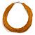 Multistrand Gold Coloured Silk Cord Necklace In Silver Tone - 40cm L